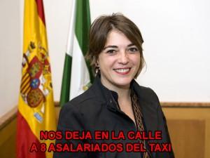 Elena Cortés (IU) Firma una orden dictatorial y falsa para los Taxis del Aljarafe
