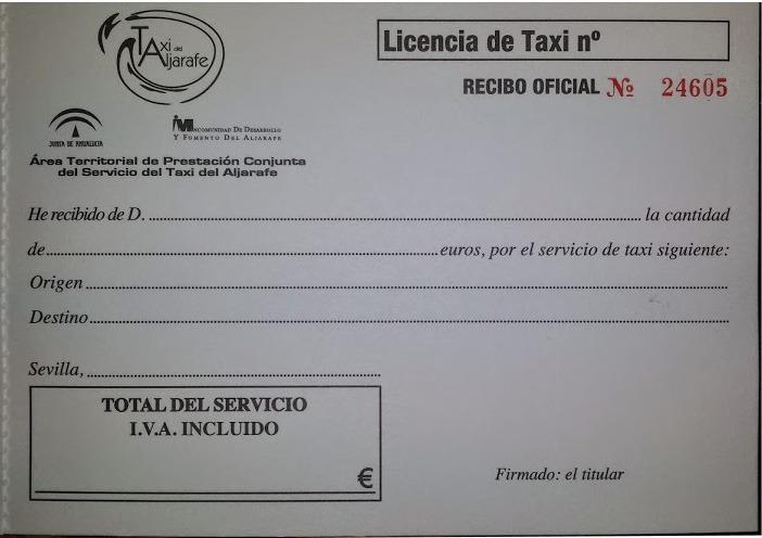 Recibo Taxi Aljarafe